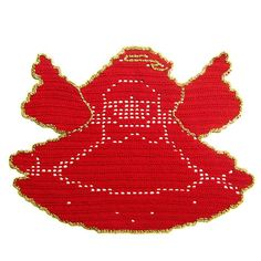 Red and Gold Christmas angel doily - Crochet | Only Italian Items