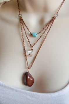 Statement 3-tier Layered Necklace- Red Jasper- Clear Calcite- Turquoise- December Birthstone- Crystal Pendants- Antique Copper