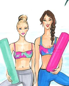 This is a fashion illustration print of my original fashion sketch inspired by friends who go yoga together. Titled: Yoga besties. Perfect item for yoga lovers. Artwork print is printed on high quality semi-glossy photo paper, signed and shipped with care in a clear cello bag and a bend proof mailer. Follow me on Instagram @Rongrong_devoe_illustration for new works! Canvas wall art is made to order. I cant offer refunds. More artworks please visit, https://www.etsy.com/shop&#...