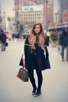 Black lazzari coat brown alma louis vuitton bag black velvet zara pants
