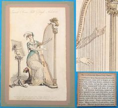 Antique 1809 Regency harp fashion print text concert dress
