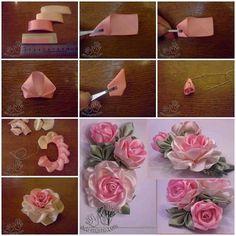 Satin ribbon flowers.