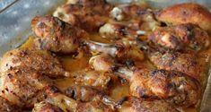 12 ks dolných kuracích stehien 1 lyžička oleja soľ čierne korenie grilovacie korenie cesnakový prášok mletá červená paprika 100 ml vody Ma... Chicken, Meat, Food, Bar Grill, Essen, Meals, Yemek, Eten, Cubs