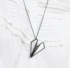 Paper plane necklace. Stained glass jewelry by hereandnowshop