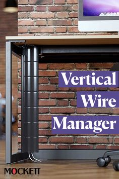 Cover cables running down you table with Mockett's Vertical Wire Manager.   #cablemanagement #officeideas #officedesign Shoe Rack Closet, Garage Office, Diy Shoe Storage, Dark Skin Makeup, Cable Management, Building Plans, Diy On A Budget, Budgeting, Home Improvement