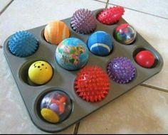 Toy balls in muffin tin