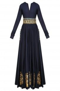 Navy Blue Zardozi Motifs Floor Length Anarkali with Embroidered Waistbelt