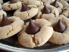 Peanut butter blossoms....these looks nice on a cookie platter with chocolate chocolate chips cookies and snowball cookies