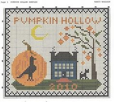 free autumn cross stitch pattern ~