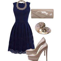 Zapatos para vestido corto azul marino