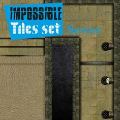 Impossible Tiles Set: Sewer | Tile-able dungeon sewer set for all possible combinations. Remember: rotate, reflect, and assemble all pieces with your imagination.  https://marketplace.roll20.net/browse/set/881/impossible-tiles-set-sewer