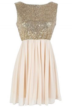 Go For Gold Sequin and Chiffon Dress in Cream