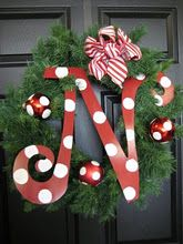 Wreath - this might make a really cute teacher gift. Paint or use scrapbook paper to make the letter match school colors or teacher room colors. They'll cherish it for years!