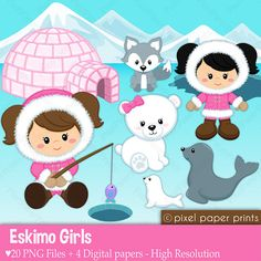 Eskimo girls - Digital paper and clip art set