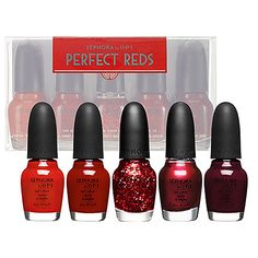 SEPHORA by OPI Perfect Reds Set - Fiercely Fabulous (opaque poppy red)/And a Cherry On Top (opaque vivid maraschino)/Be-Claus I Said So (clear with medium and chunky red glitter)/Curve-Aceous (opaque metallic cool candy apple)/Mr. Right Now (opaque classic wine)