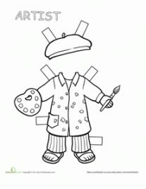 Paper dolls coloring pages are a great way for kids to use their imaginations. Browse our selection of paper dolls printables and find your favorites. Art Classroom, Classroom Activities, Victorian Paper Dolls, Art Handouts, Community Helpers Preschool, Community Workers, Social Studies Worksheets, Paper Dolls Printable, Kids Education
