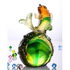 Wine Stoppers - LIULI Crystal Art Fish Home Decor Paperweight Decoration for Fortune Wealth Success Prosperity Somersault to the Top *** Click image to review more details.