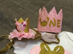 Large Pink and gold minnie mouse birthday crown headband, or pink and gold crown with name for first birthday by KenzeesKloset on Etsy https://www.etsy.com/listing/268498967/large-pink-and-gold-minnie-mouse
