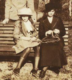 "Grand Duchesses Anastasia and Olga Nikolaevna Romanova of Russia in 1914. ""AL"""