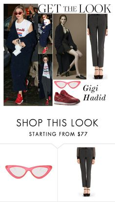 """""""Gigi Hadid New York City March 31 2017"""" by valenlss ❤ liked on Polyvore featuring Reebok, Le Specs and Diane Von Furstenberg"""