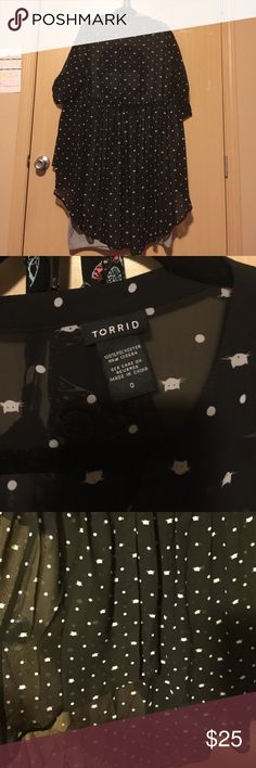 Cats 😺& dots ⚫️ black tunic blouse Torrid brand new without tag. I tried it on before actually to wear but realized that my chest pretty tight in it. I don't want rip the sheer fabric. I'm 38D/40C avg 😢 torrid Tops Blouses