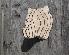 Декоративная голова медведя из фанеры на стену купить