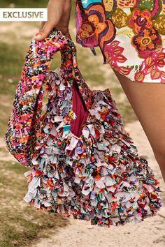 #Multicolored and #multiplefabrics #beachbag.    #Maui Swimwear 'Prestige' #Beach #bag by Maui 2013 | The Orchid Boutique