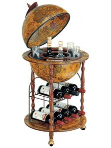 This Italian floor-standing wine rack bar globe from BarGlobeWorld.com features illustrations of sea monsters, mermaids and mythological figures.