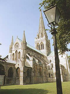 Chichester Cathedral, Sussex, England. The present building is on top of an earlier Saxon Church, St Peter's, building started on the Cathedral in 1076 by Bishop Stigland, the work was finally completed under Bishop Luffs and was consecrated in 1108