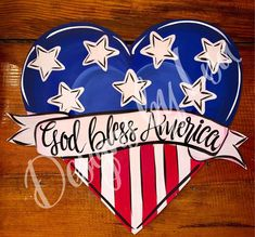 Red white and blue heart. Can be customized Fourth Of July Decor, 4th Of July Fireworks, 4th Of July Decorations, July 4th, Patriotic Pictures, Patriotic Crafts, Dollar Store Crafts, Front Door Signs, God Bless America