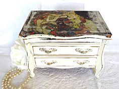 Shabby Chic Jewelry Box, Gustav Klimt, Cottage Chic Decor, Boudoir Decor, French Farmhouse, Jewelry Storage, Gifts for Her by AgedwithGraceVintage on Etsy https://www.etsy.com/ca/listing/475256748/shabby-chic-jewelry-box-gustav-klimt
