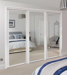 shaker mirror door white - Closet Doors Sliding