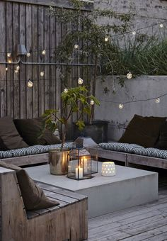 Lighting is everything for your outdoor space. Love this simple, yet romantic backyard setting.