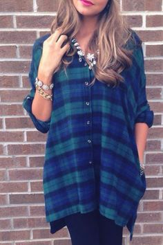Preppy Style Polo Collar Plaid Slit Long Sleeve Blouse For Women