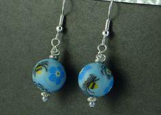 Powder Blue Millefiori Bead Earrings £6.00