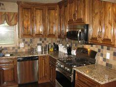love the stain Kitchen Cupboards, New Kitchen, Kitchen Ideas, Kitchen Decor, Decorating Kitchen, Decorating Ideas, Decor Ideas, Knotty Alder Kitchen, Knotty Alder Cabinets