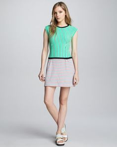 Go Crazy Mixed-Knit Dress by Nanette Lepore at Neiman Marcus.