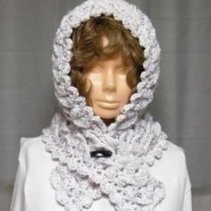 Crochet Dragon Stitch Scoodie-Buttoned Cowl-Scarflet with hood | eabRainbowCrafts - Crochet on ArtFire