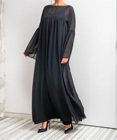 Black Maxi Dress/ Chiffon dress/ Caftan/ Evening dress/ Plus size dress/ Cocktail dress/ Plus size clothing/ Long dress/ Long sleeve dress by cherryblossomsdress on Etsy https://www.etsy.com/listing/286543067/black-maxi-dress-chiffon-dress-caftan