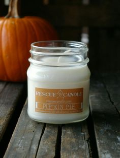 Pup'Kin Pie Soy Candle /  8 oz. Glass Mason Jar  / by RescueCandle, $10.00