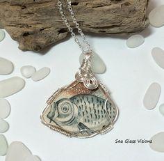 Sea Pottery Pendant Broken Pottery Jewelry Sea by SeaGlassVisions
