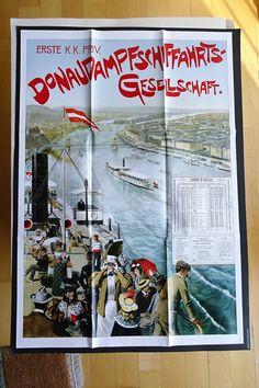 k.u.k. Monarchie Marine Navy 1899 Donau Plakat Schiff Fahrplan Dampfer LLOYD Baseball Cards, Paper, Poster