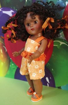 "**ORaNGe CRuSH** 3 PC Outfit for Vogue Ginny, Muffie, and older Madame Alexander 7.5""DoLLs. Cute Shorts, Ruffle Top, and Flip-Flops! A Unique 3 PC set and you can buy it now!"