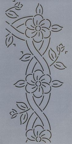 Cable and Flower Border - The Stencil Company, flower Quilting Stencils, Quilting Templates, Machine Quilting Designs, Stencil Patterns, Applique Patterns, Longarm Quilting, Free Motion Quilting, Quilt Patterns, Embroidery Flowers Pattern