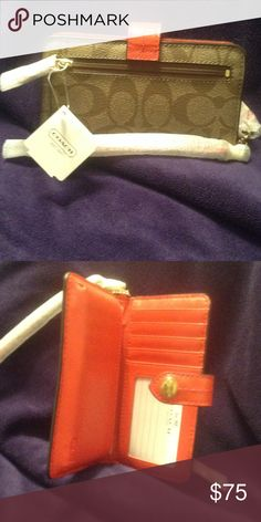 New Coach Phone Wallet❣NWT Coach phone wallet5 card slots, cash or iPhone 4New..NWT Bags Clutches & Wristlets