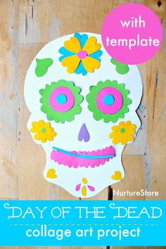 fall art projects for kids This easy collage art project invites children to learn about the Day of the Dead as they create their own sugar skull craft. Day of the Dead art pro Arts And Crafts Storage, Arts And Crafts For Teens, Art And Craft Videos, Arts And Crafts House, Easy Arts And Crafts, Crafts For Seniors, Crafts For Girls, Art For Kids, Arts And Crafts Movement