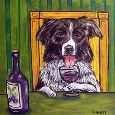 border collie wine bar animal dog art tile coaster