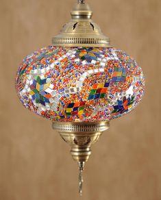"10"" XL Turkish Moroccan Handmade Mosaic Hanging Ceiling Lantern Night Lamp Pendant Light Fixture Lig"