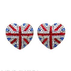 Look brilliant with these fantastic Butler & Wilson Crystal Heart Shape Union Jack Stud Earrings. Featuring Swarovski crystal, they fasten with a post and push clasp. Heart Shaped Earrings, Cute Earrings, Union Jack, Britain's Got Talent, Butler & Wilson, Bling Shoes, Bling Bling, Out Of The Closet, Hearts