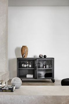 Low cabinet in iron, which can be used for storage. the cabinet as a TV-furniture. Low Cabinet, Cabinet Doors, Tv Furniture, Furniture Ideas, Drinks Cabinet, Wooden Vase, Modern Kitchen Design, Contemporary Furniture, Interior Styling